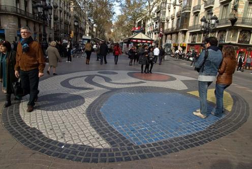 Placa de la Boqueria - Joan Miro mosaic.