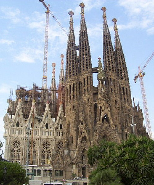 Sagrada Familia with architecture design by Antoni Gaudi.