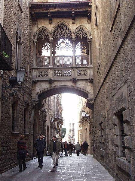 Barri Gotic - the old Gothic Quarter of Barcelona.