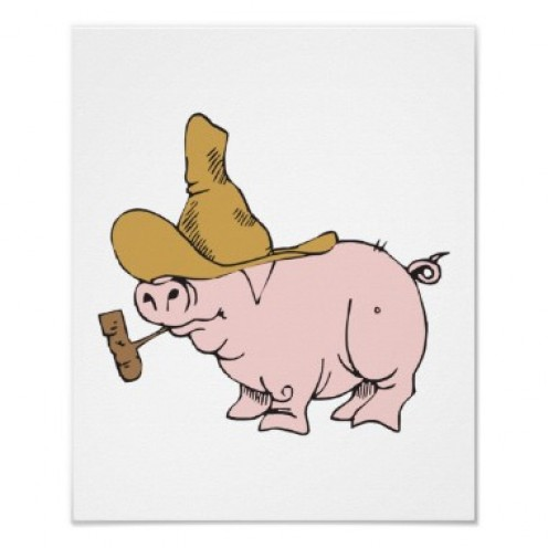TYPICAL SOUTHERN CARTOON--PIG WITH HAT, AND PIPE. IT MAY BE FUNNY FOR A MOMENT, BUT IT GETS OLD.