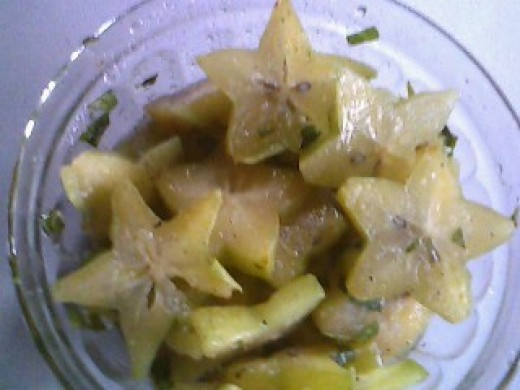 A bowl of Five-Finger or Star Fruit Chow