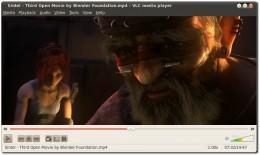 A screenshot of VLC Media Player v. 1.0.6 playing the video film: Sintel