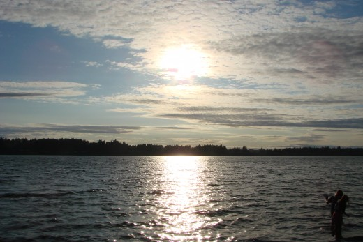 A shot of the sunset across the sound. You are looking at the west bank of the Puget Sound in Washington State.