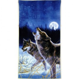 Wolf beach towel with scenery. Beautiful colors and cool setting are great for summer on the beach or winter by the pool.