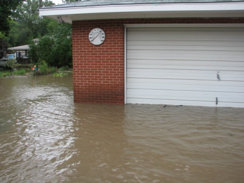 The garage was flooding but, we had taken the yard equipment out on the initial run. We saved the generator, power washer, lawnmower, and other large machines.