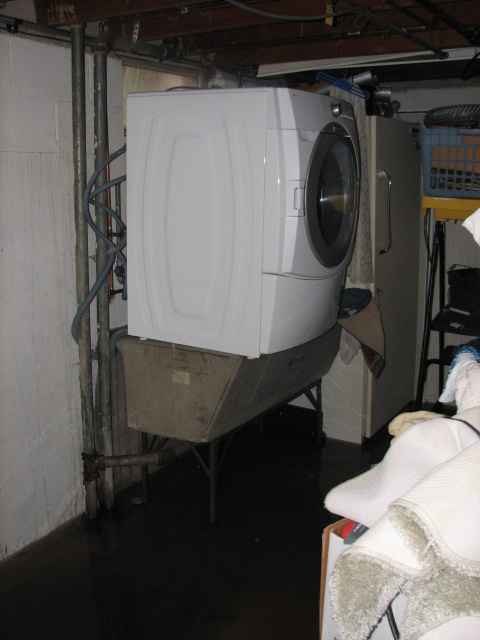 The new washer and dryer were raised off the ground as high as we could get them.