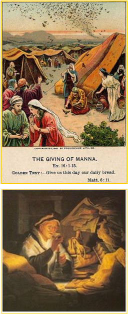 Israelites Hoarding Manna While Wandering in Desert - Rich Farmer Hoarding Wheat & Grain Night before His Death