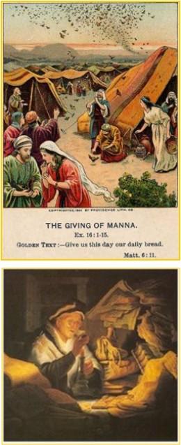 Israelites Hoarding Manna While Wandering in Desert - Rich Farmer Hoarding Wheat & Grain Night before His Death