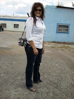Tina Newberry shines in her new designer jeans she bought from a Vault Denim jean party!