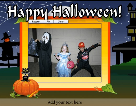 First slide of a personalized digital happy Halloween card made with Smilebox.