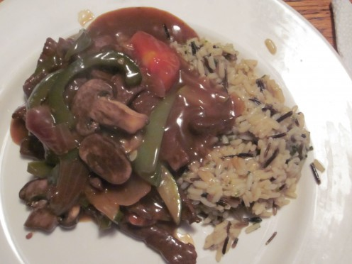 Pepper Steak Served Wild Rice