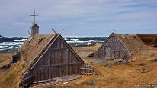 A Danish coastal community such as Hunding would have known as home. The nearside building is a church - Christianity was introduced to Denmark in the late 10th Century, but some would take more persuading...