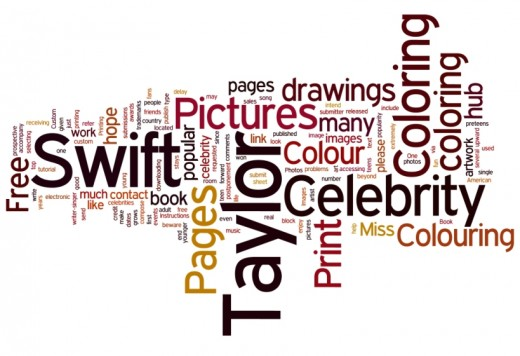 Taylor Swift Celebrity Coloring Pages Word Cloud