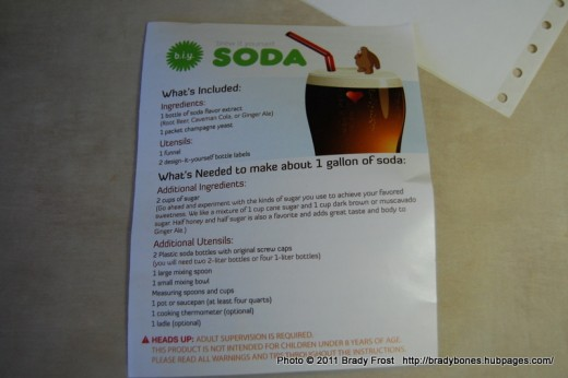 Instructions for the Homemade Soda Kit by Copernicus Toys.