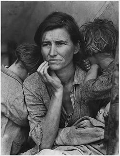 A mother and her children during the Great Depression.