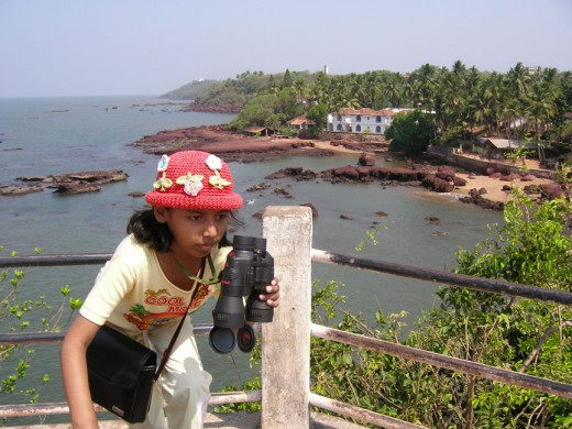 My daughter, discovering Goa!