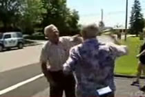 TWO ELDERLY MEN TRYING TO FIGHT. AT THEIR AGE, A FIST FIGHT MIGHT LEAD TO A SEVERE HEART ATTACK.