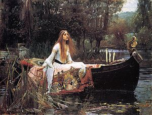 A painting by, John William Waterhouse. Titled -  The Lady of Shalott (1888). Tate Gallery, London