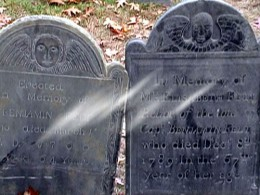 Howard Street Cemetery Gravestones with unidentified mist in front