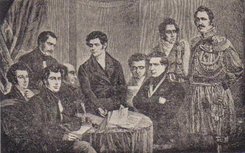 Engraving reproducing a picture of the Provisional Government of Belgium in 1830