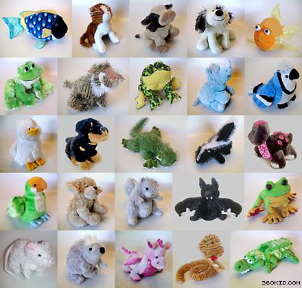 """Webkinz"" plush animals."