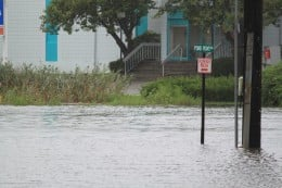 Flooded street due to Irene on Aug 28, 2011
