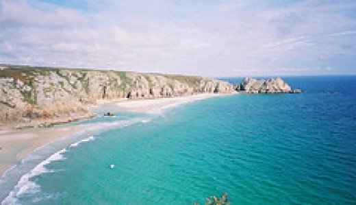 The idyllic beach at Porthcurno