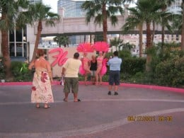 """Two """"Flamingo"""" showgirls outside of the Flamingo Hotel in Las Vegas."""