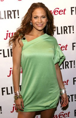 Jennifer Lopez in asymmetric dress.