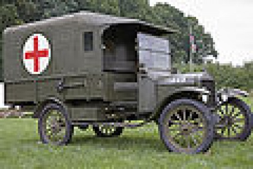 Ford Model T Field Ambulance 1916 canvas on wood frame model used extensively by the British & French as well as the American Expeditionary Force in The Great War. Top speed 45mph from a 4 cylinder water cooled engine.