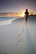 When God teaches you to walk - Footprints in the sand