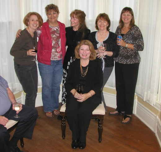 My fun friends in SE Kansas celebrating Patsy's b'day (sitting)...there's LIZ MOORE on the far left as you view the picture...she wrote this GREAT book!!!  then Donna, me, Becky and Val  9.16.11