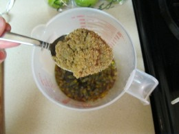 One of two heaping tablespoons of brown sugar