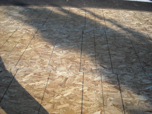 """This is 3/4"""" T&G sheathing used to lock the entire roof system together and give the roof significant structural strength."""