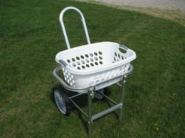 Laundry basket cart rolls in the house or yard so that I don't have to bend over.