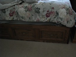 Built up mattress just at the right height to slide in and out of bed.