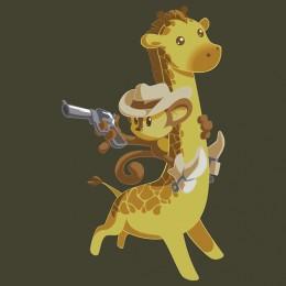 cowboy monkey riding giraffe