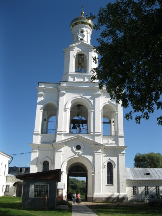 Belfry over Main Entrance to Yuryev (St. George) Monastery outside of Veliky Novgorod, Russia