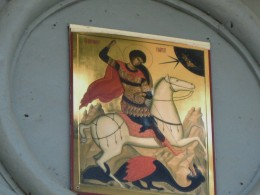 Icon over Entrance to St. George (Yuryev) Monastery depicting St. George slaying a dragon.  Anna Alexeevna Orlova provided the funds for the 19th Century restoration of this monastrey.