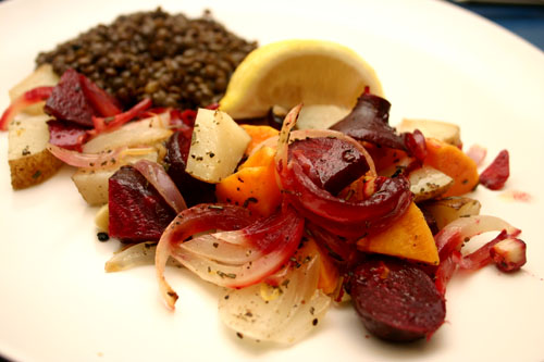 Lemon Rosemary Roasted Root Vegetables with potatoes, beets, and sweet potatoes