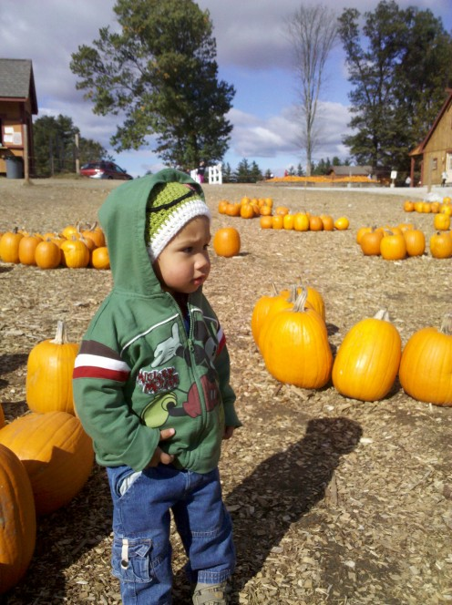 This is my nephew.  He is very cool, as you can see, standing in a Pumpkin Patch!