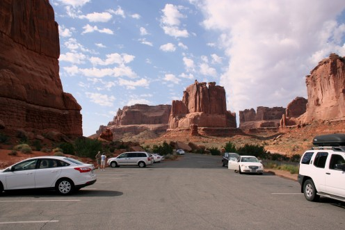 One of the parking areas where trails begin and end in Arches National Park