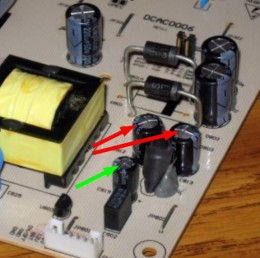 Bad Capacitors on the X2Gen Flat Panel Monitor Power supply Board