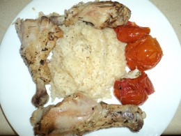 Finished and Ready to Eat Herb Chicken with Heirloom Tomatoes