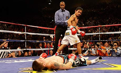 Pacquiao decking Briton Ricky Hatton in the second stanza