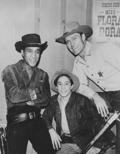 (from left) SAMMY DAVIS, JR., CHUCK CONNORS, (LUCAS MCCAIN) AND JOHNNY CRAWFORD (MARK MCCAIN), MADE FOR GREAT WESTERN TELEVISION.
