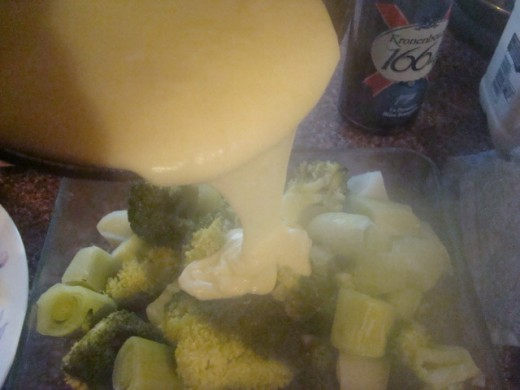 Look at that beautiful, thick creamy cheese sauce! The leeks and broccoli love it :-)