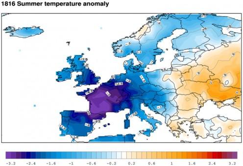 Temperature variations in Europe during Summer, 1816.