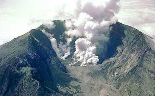 Mt. Tambora venting ash and steam