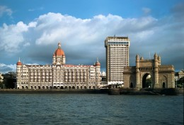 A view of Mumbai - Hotel Taj to the left and the Gateway of India to the right.